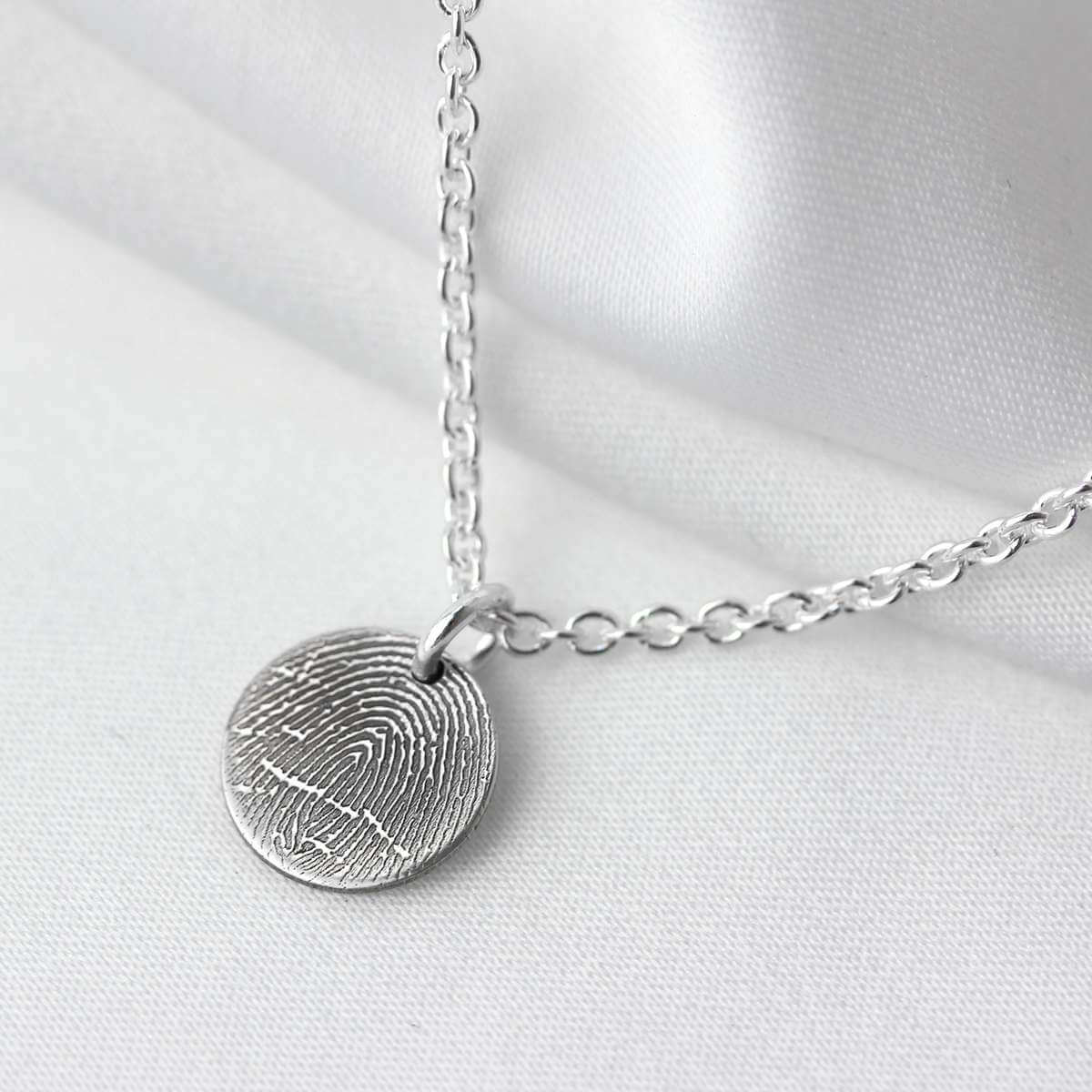 Bespoke Sterling Silver 13mm Fingerprint Necklace 16-24 Inches