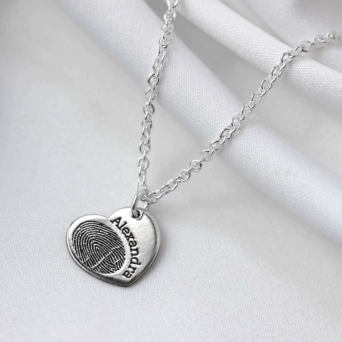 Bespoke Sterling Silver Fingerprint Heart Name Necklace 16 - 24 Inch