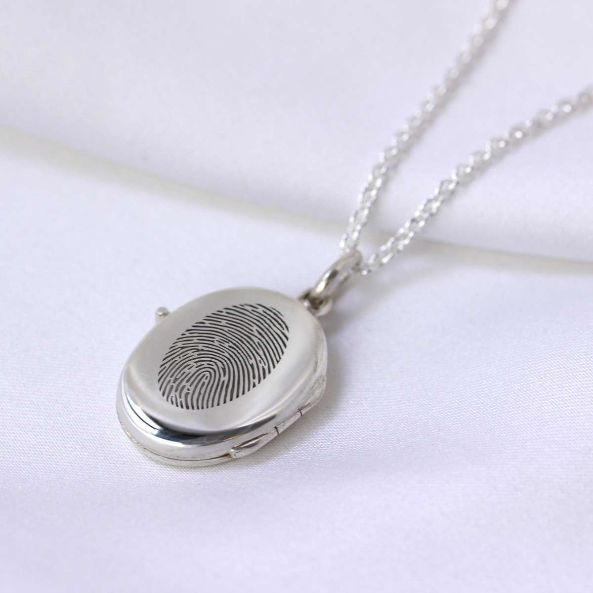 Bespoke Sterling Silver Fingerprint Locket Necklace 16 - 24