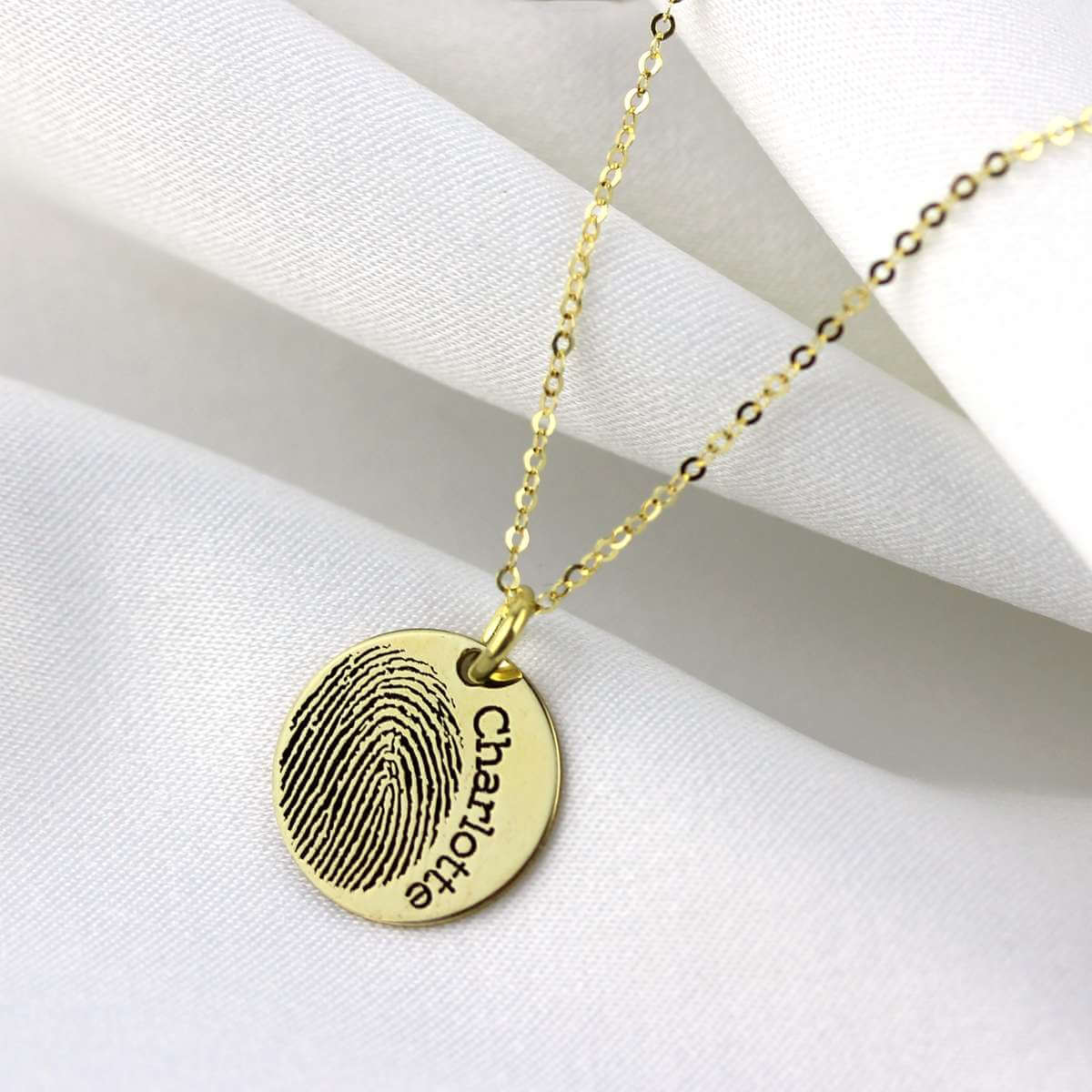 Bespoke 9ct Gold 14mm Fingerprint Name Necklace 16-24 Inches