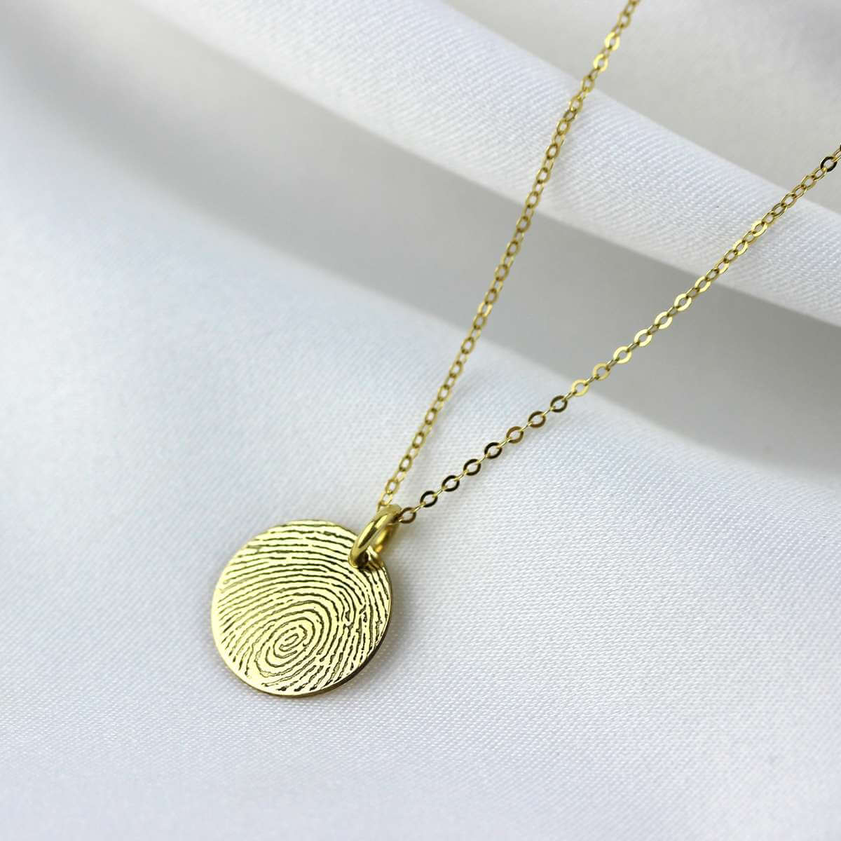 Bespoke 9ct Gold 13mm Round Fingerprint Necklace 16-24 Inch