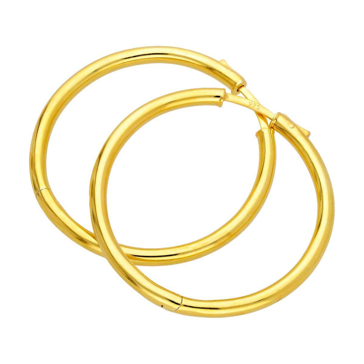 Gold Plated Sterling Silver Round Tube Push Button 40mm Hoop Earrings