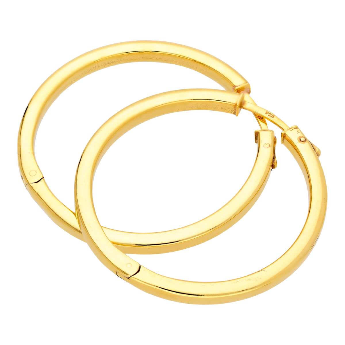 Gold Plated Silver Square Push Button 40mm Hoop Earrings