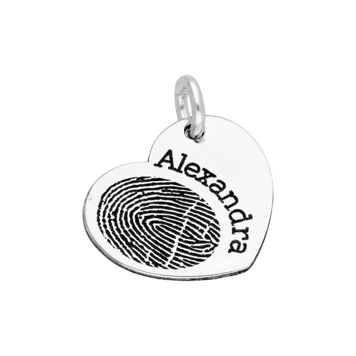 bespoke sterling silver fingerprint heart name charm