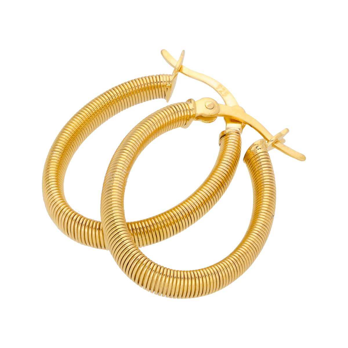 Gold Plated Sterling Silver Oval Creole Hoop Earrings