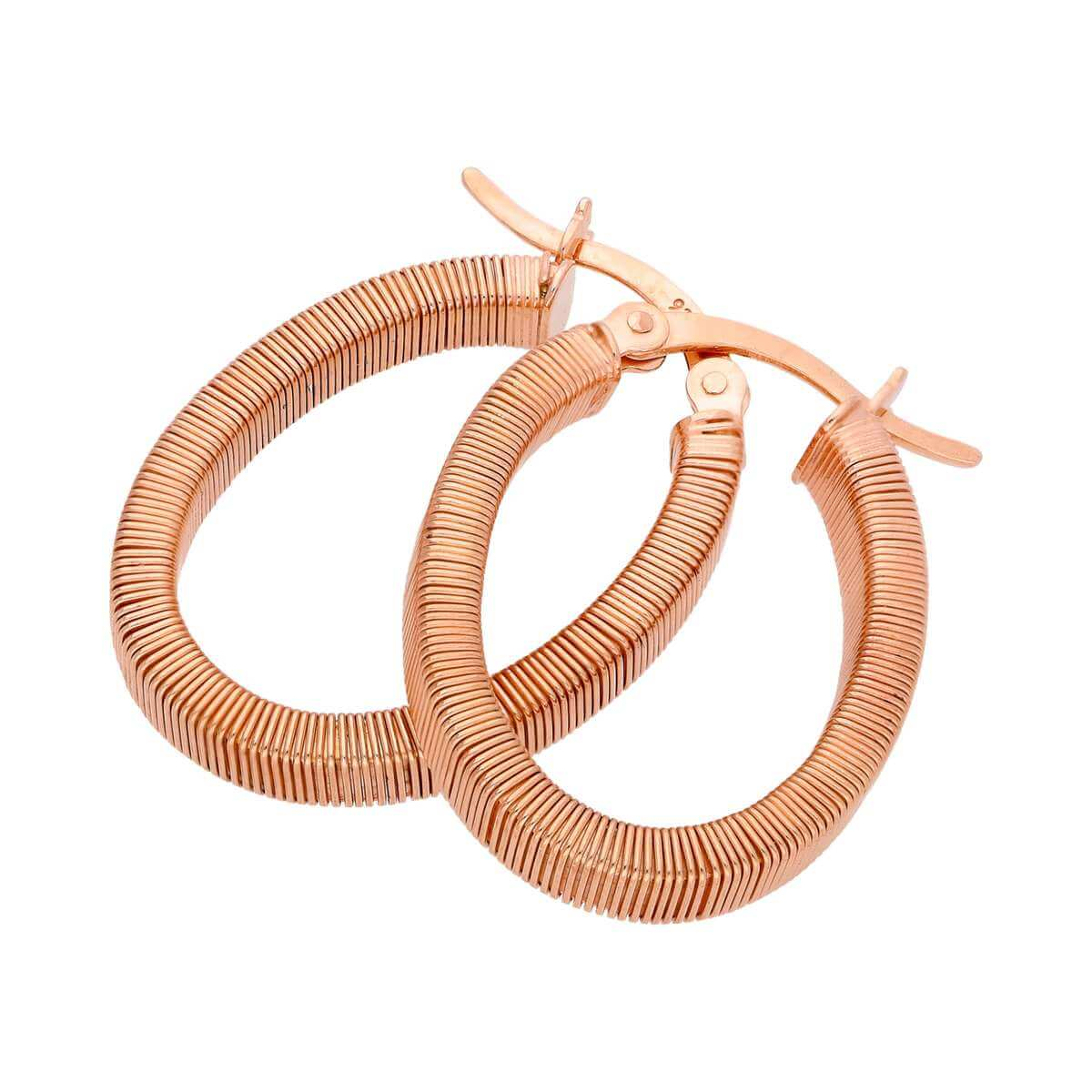 Rose Gold Plated Sterling Silver Oval Creole Hoop Earrings