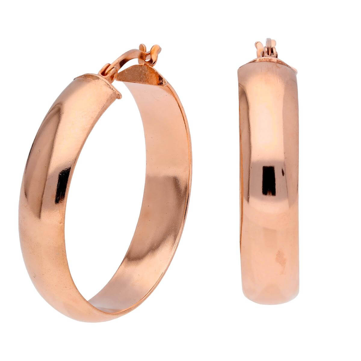 Rose Gold Plated Sterling Silver Chunky Creole 30mm Hoop Earrings