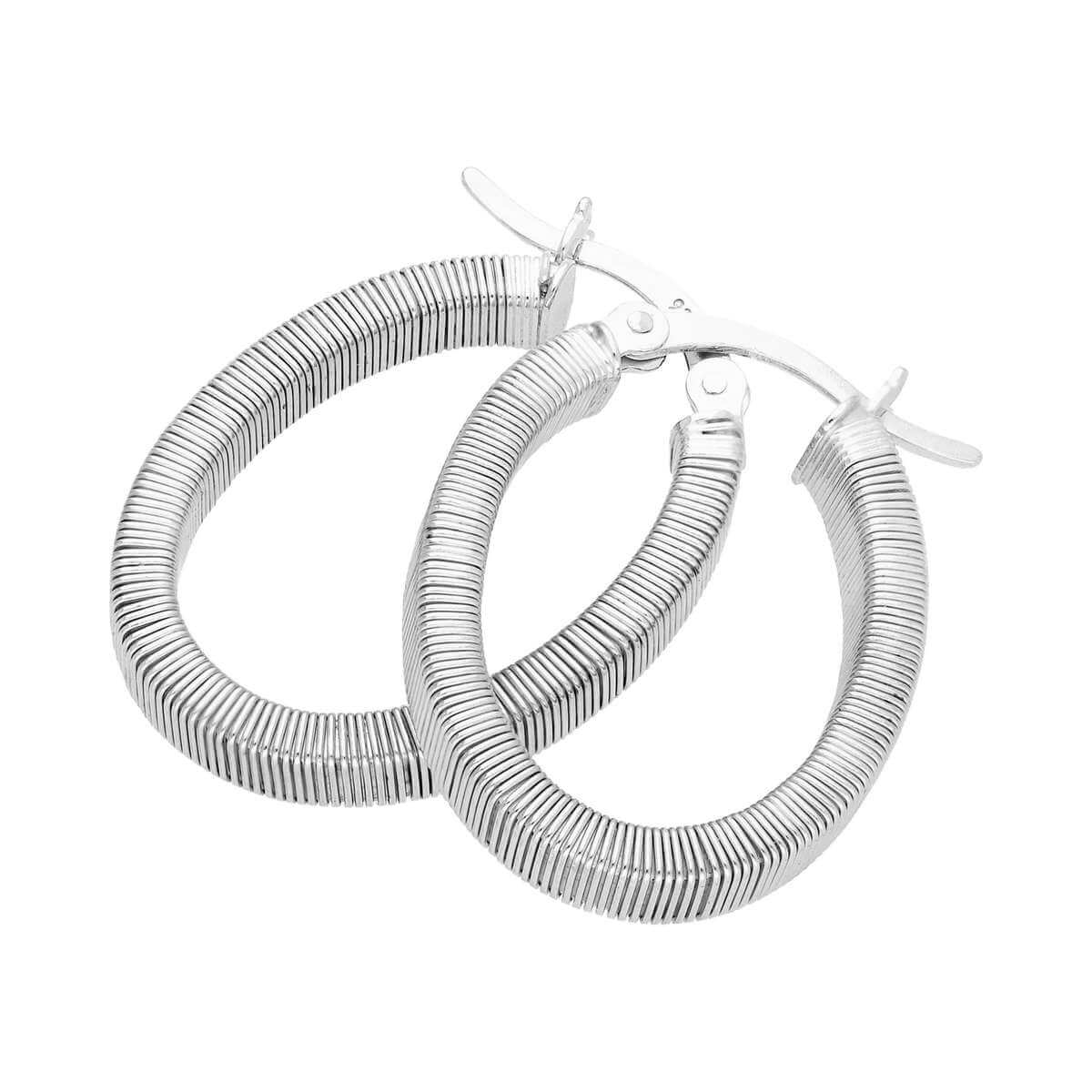 Sterling Silver Lined Oval Chunky Creole Hoop Earrings