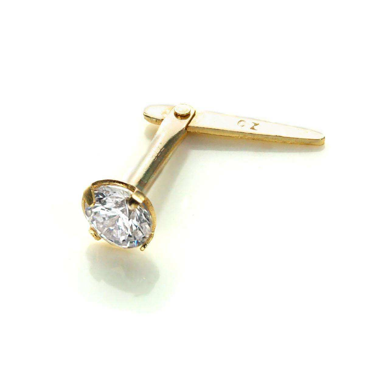 Andralok 9ct Yellow Gold Clear CZ 3mm Round Nose Stud