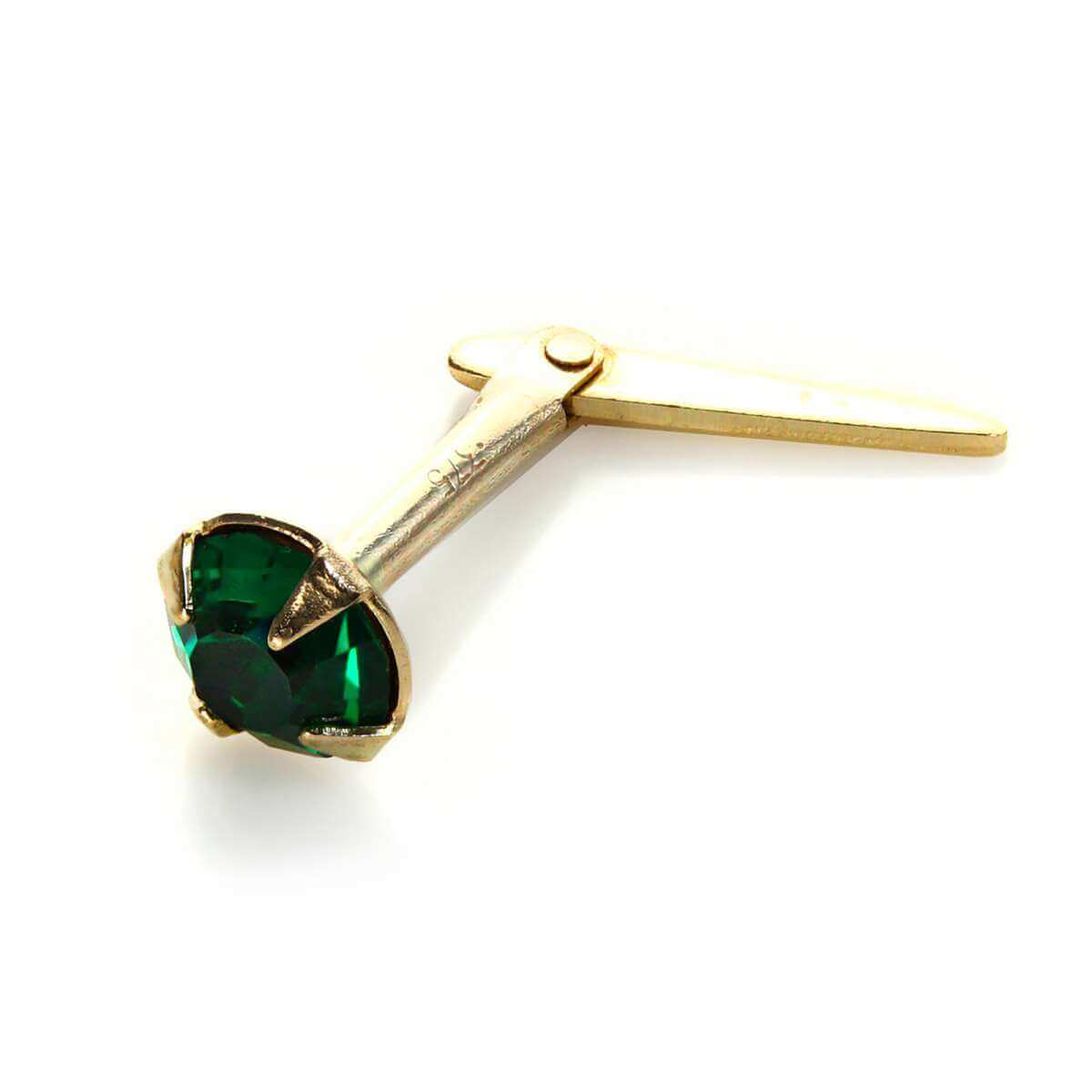 Andralok 9ct Yellow Gold Emerald Crystal 3.5mm Nose Stud
