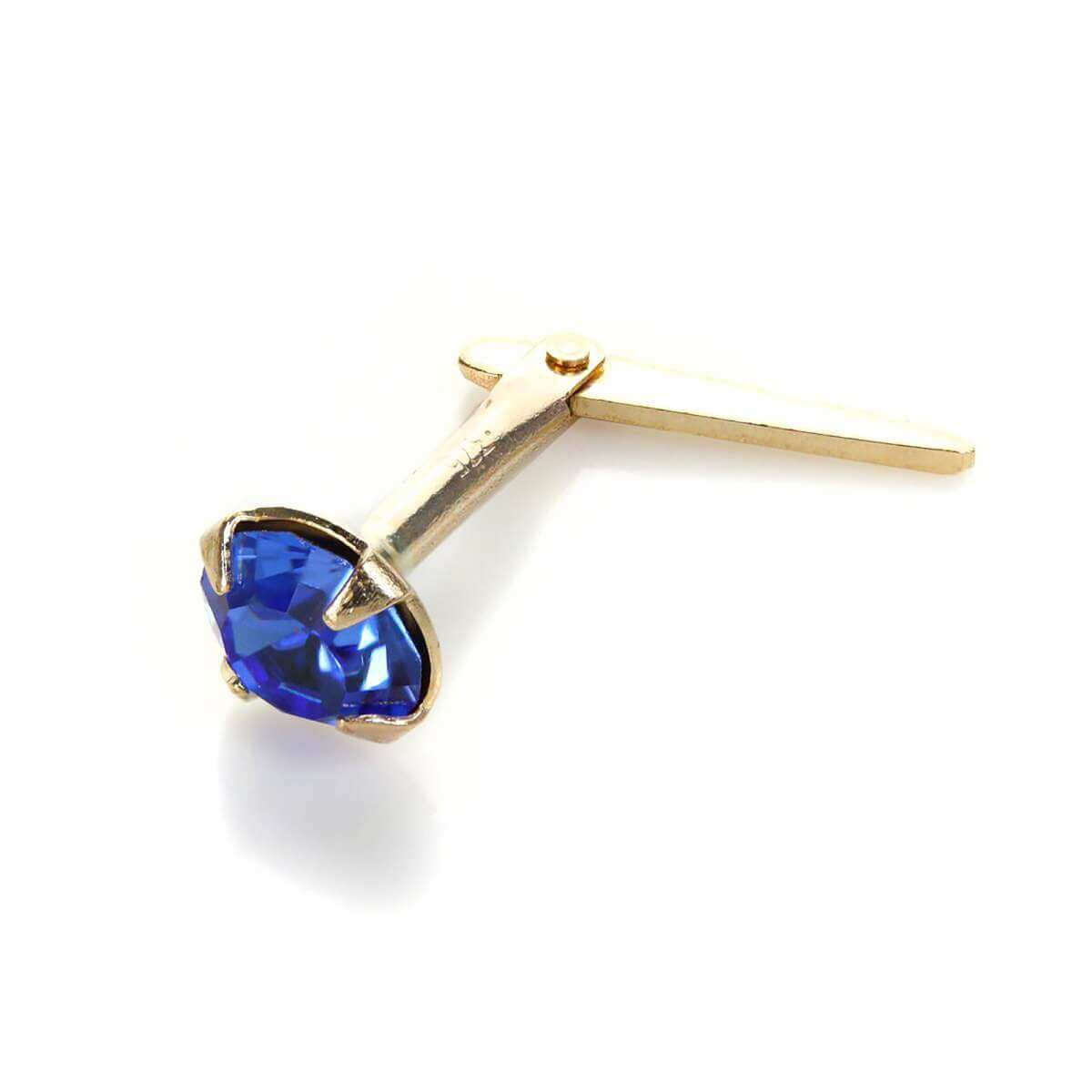 Andralok 9ct Yellow Gold Sapphire Crystal 3.5mm Nose Stud