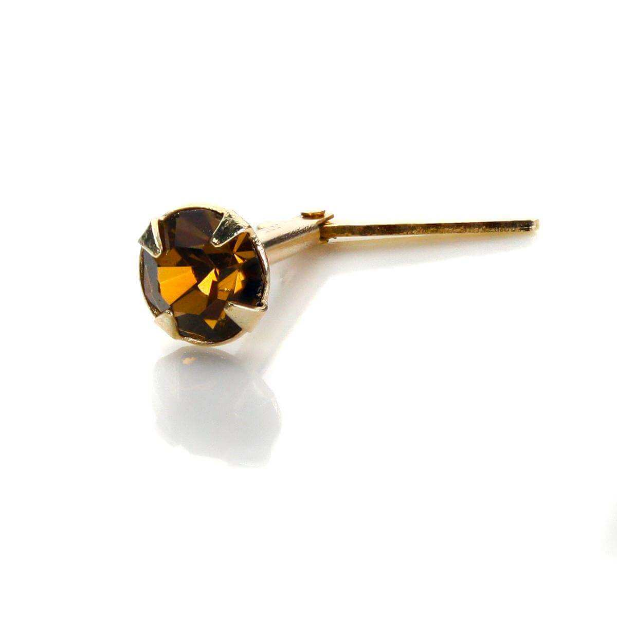 Andralok 9ct Yellow Gold Smoked Topaz Crystal 3.5mm Nose Stud