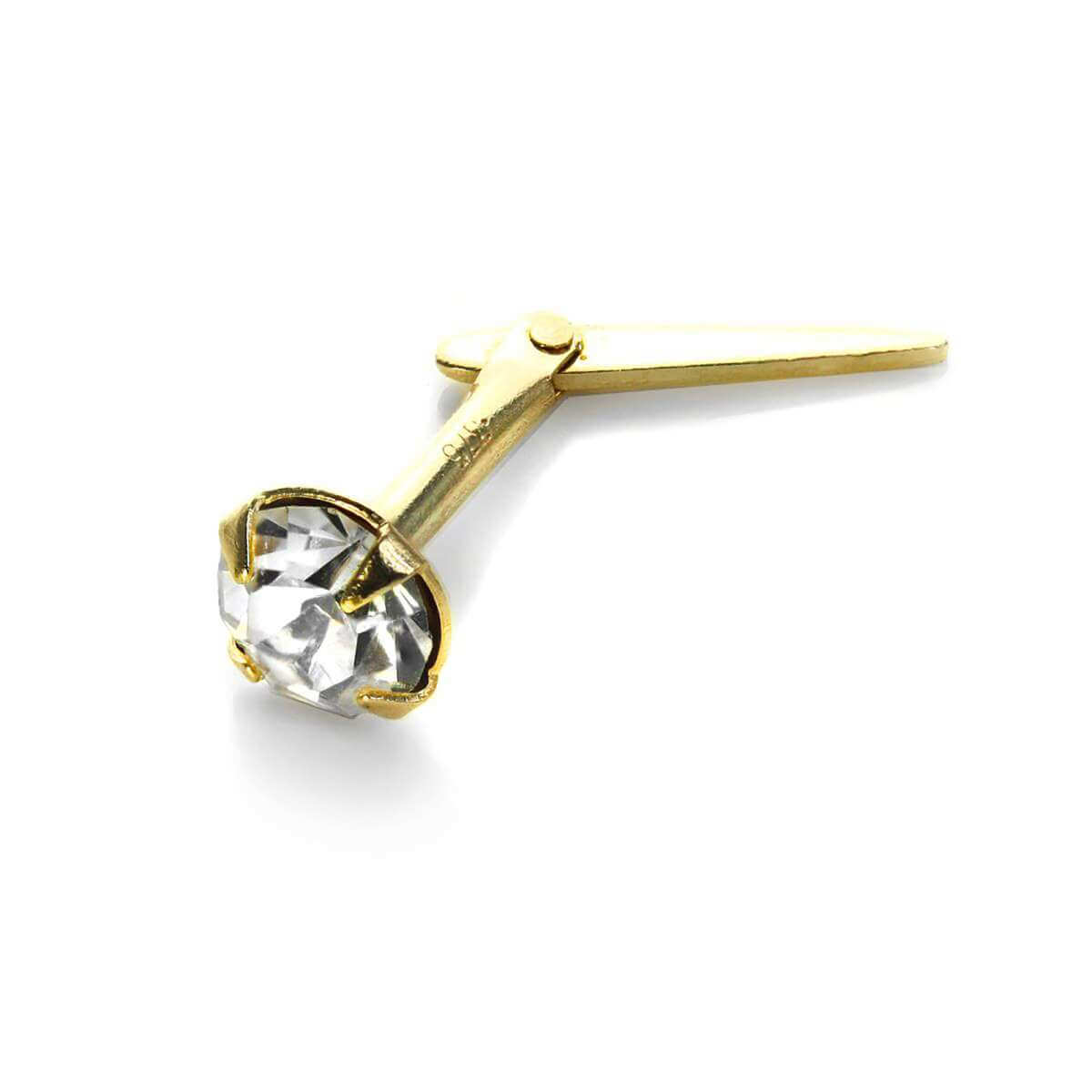 Andralok 9ct Yellow Gold Clear Crystal 3.5mm Nose Stud