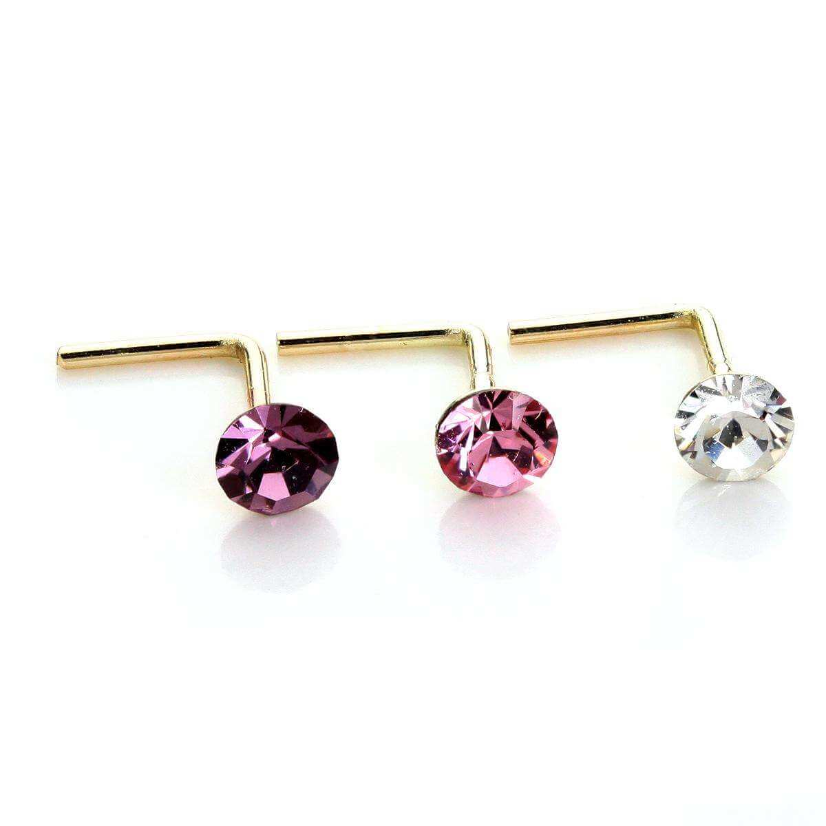 9ct Yellow Gold Crystal 2.8mm Round Nose Stud Set