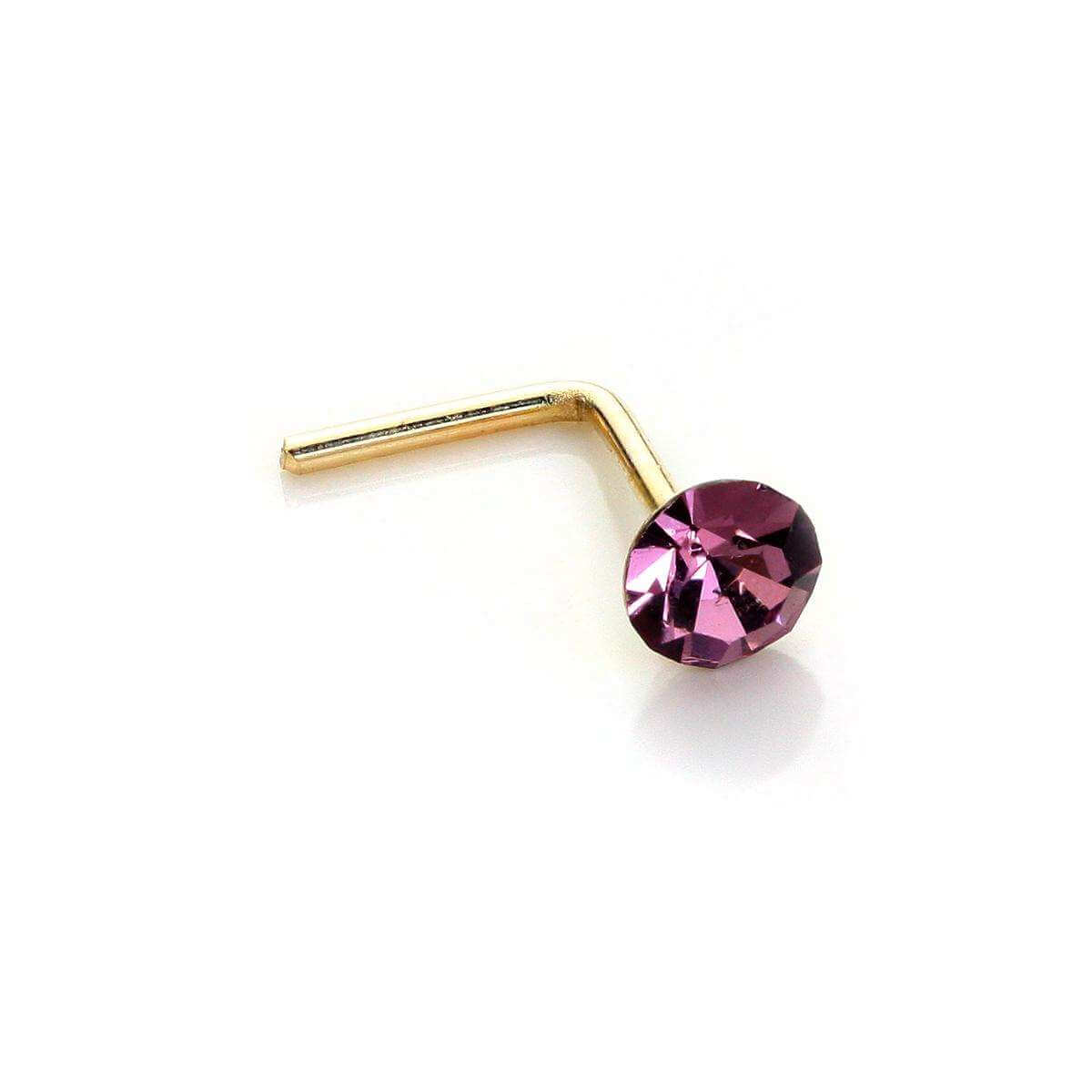 9ct Yellow Gold Amethyst Crystal 2.8mm Round Nose Stud