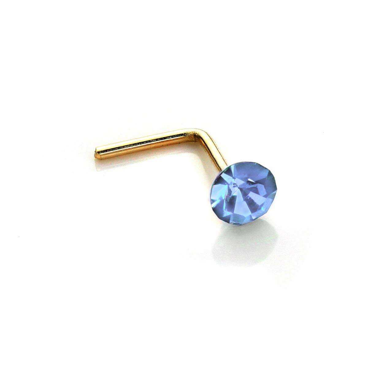 9ct Yellow Gold 2.8mm Round Light Sapphire Crystal Nose Stud L Pin
