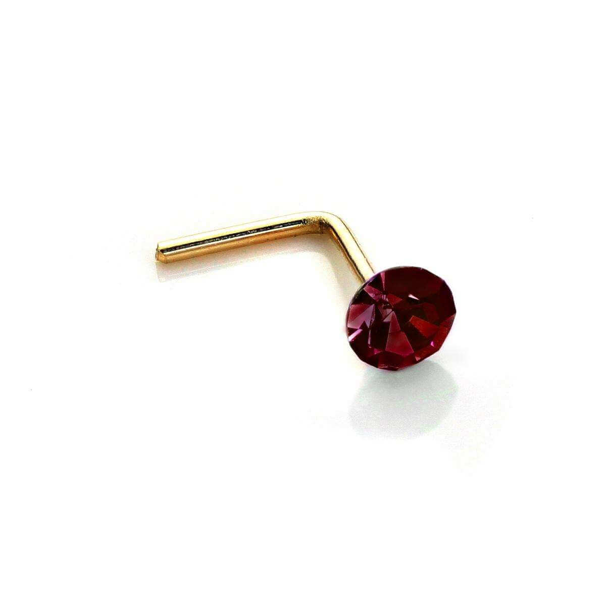 9ct Yellow Gold 2.8mm Round Ruby Crystal Nose Stud L Pin