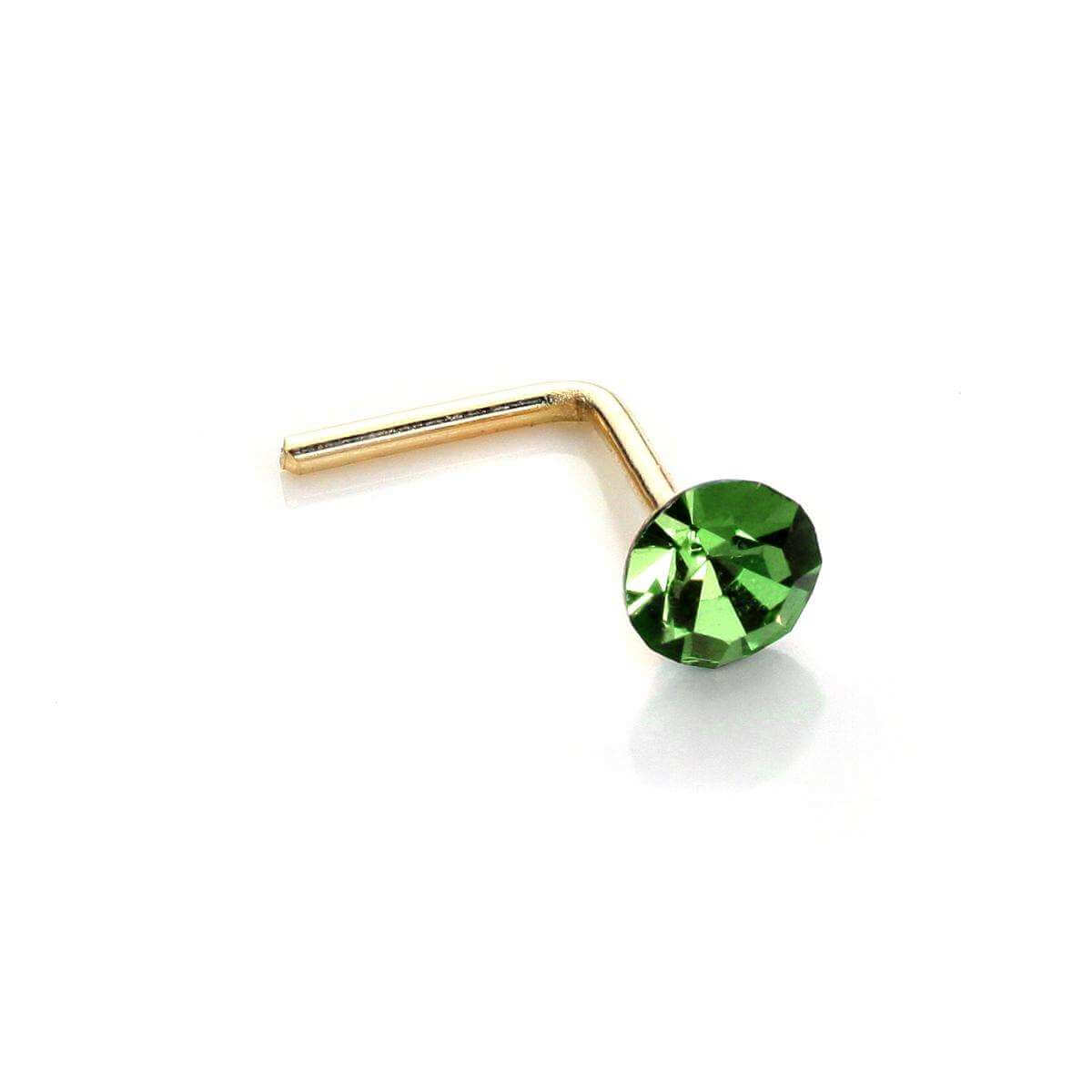 9ct Yellow Gold 2.8mm Round Peridot Crystal Nose Stud L Pin