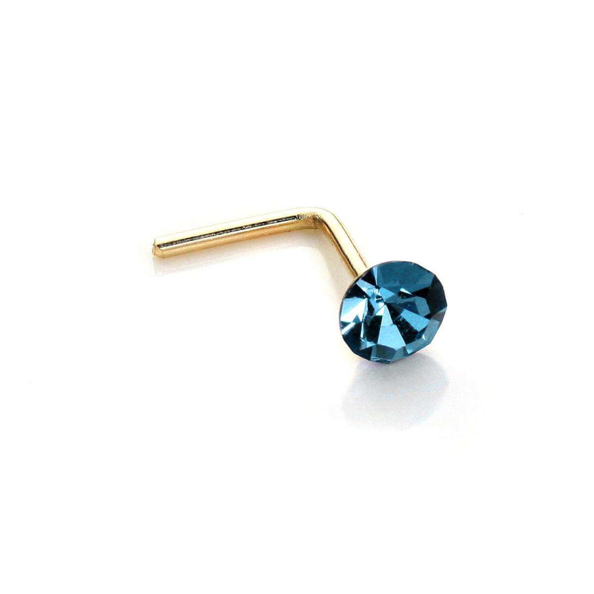 9ct Yellow Gold 2.8mm Round Aquamarine Crystal Nose Stud L Pin
