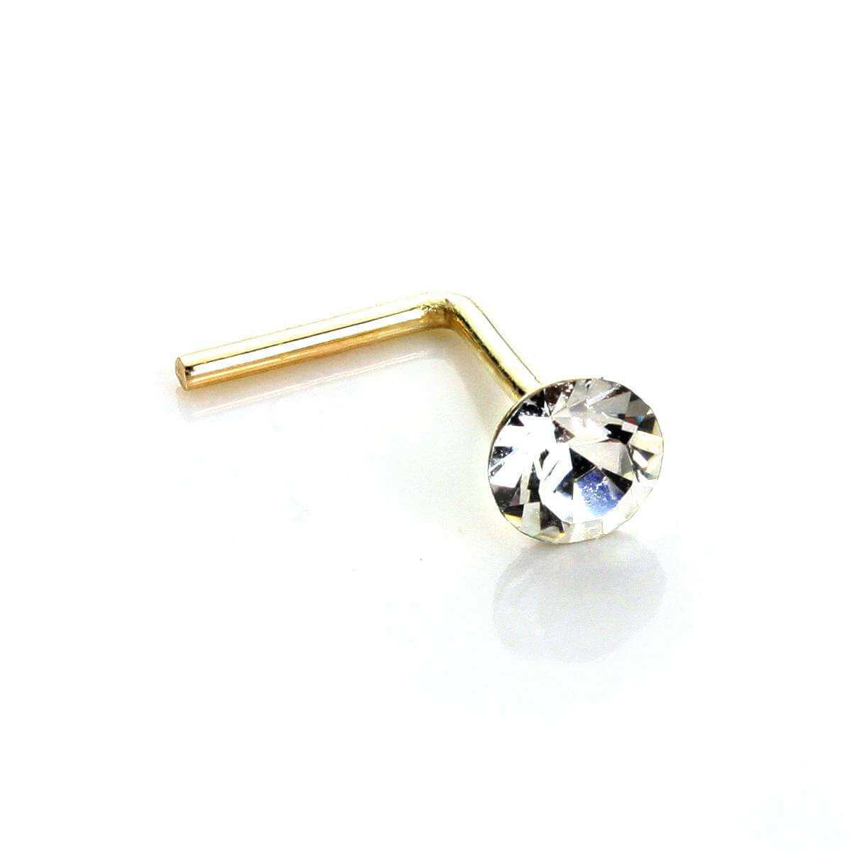 9ct Yellow Gold Clear Crystal 2.8mm Round Nose Stud