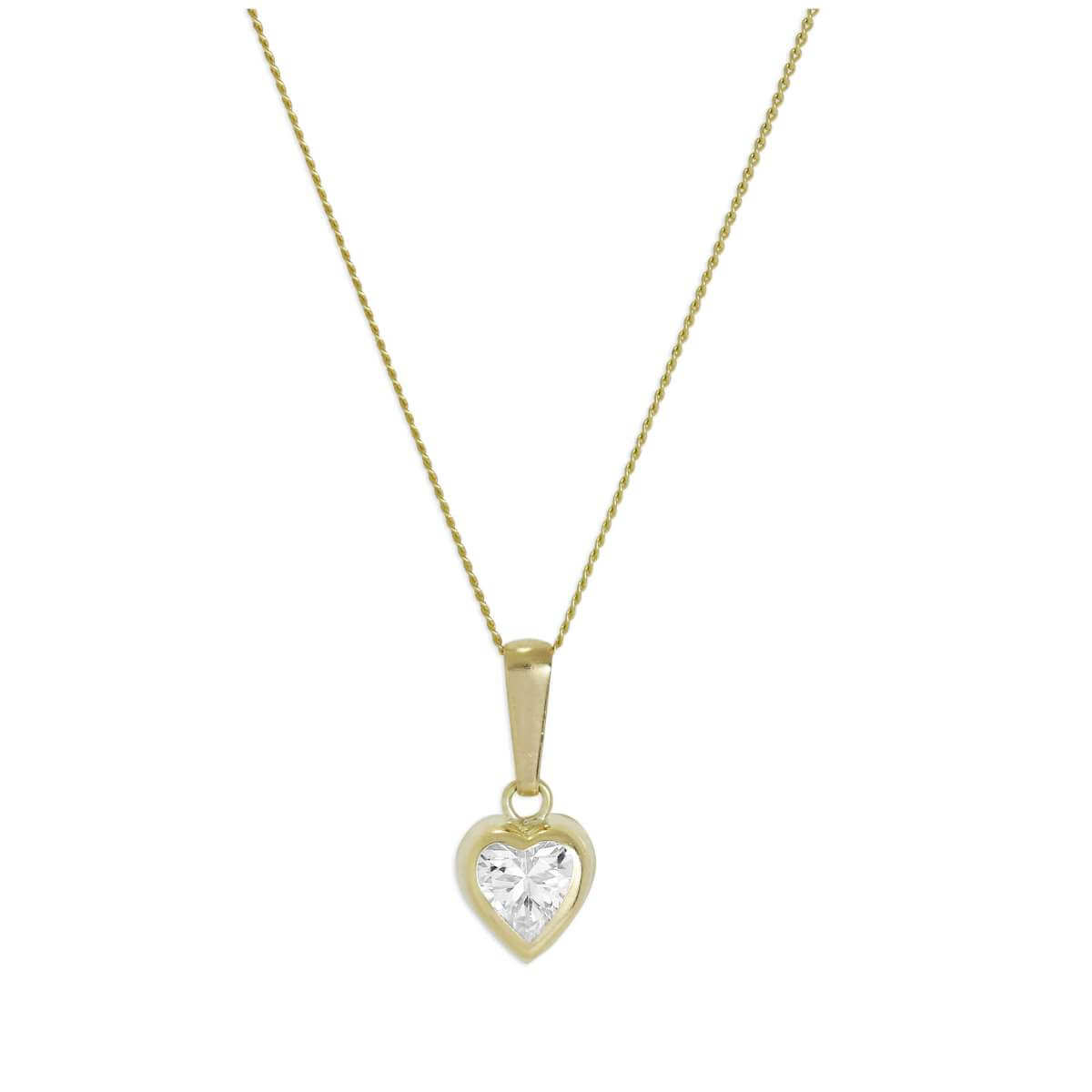 9ct Yellow Gold & Clear CZ Crystal 5mm Rubover Heart Pendant on Chain 16 - 20 Inches