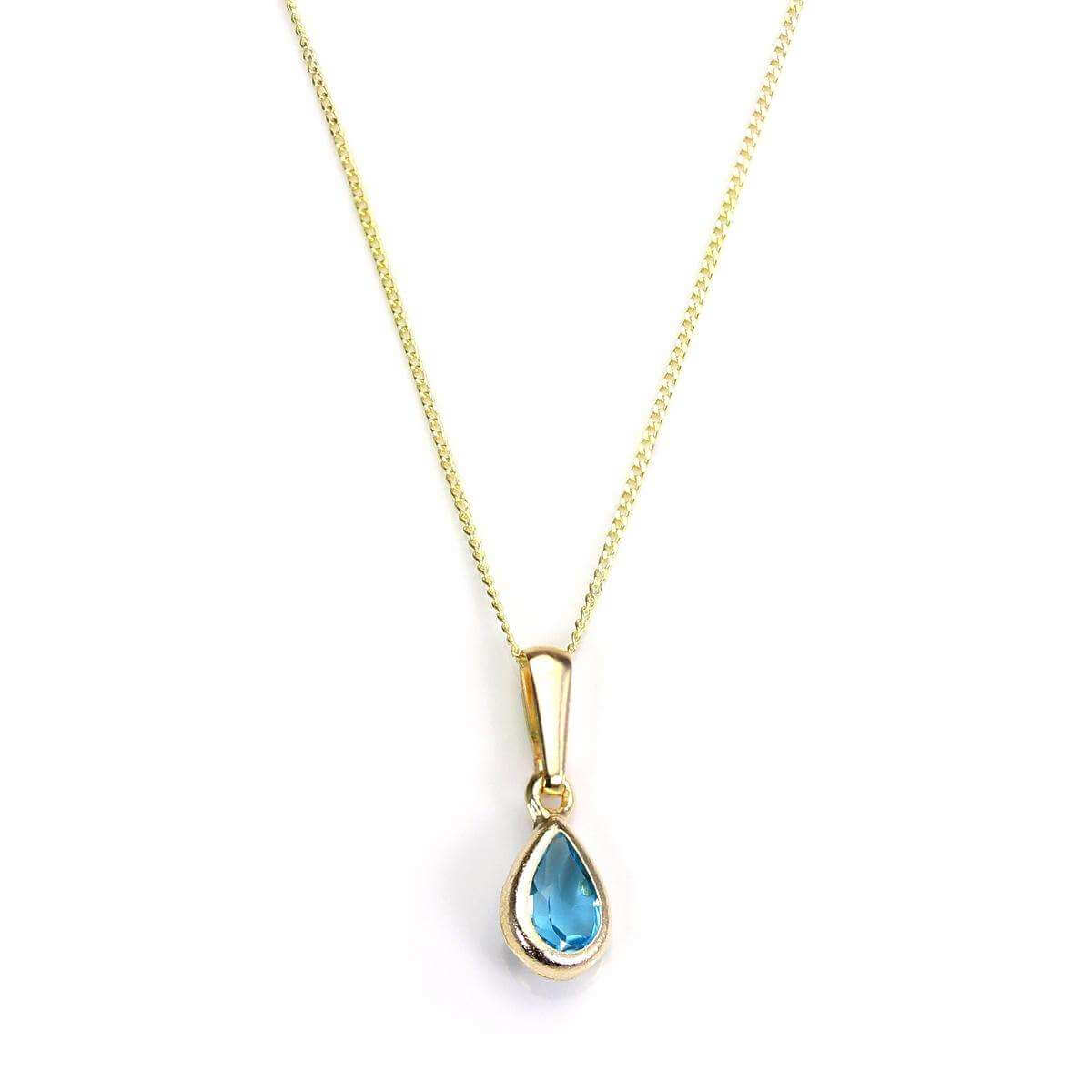 9ct Gold Sky Blue Topaz Gemstone November Birthstone Pendant