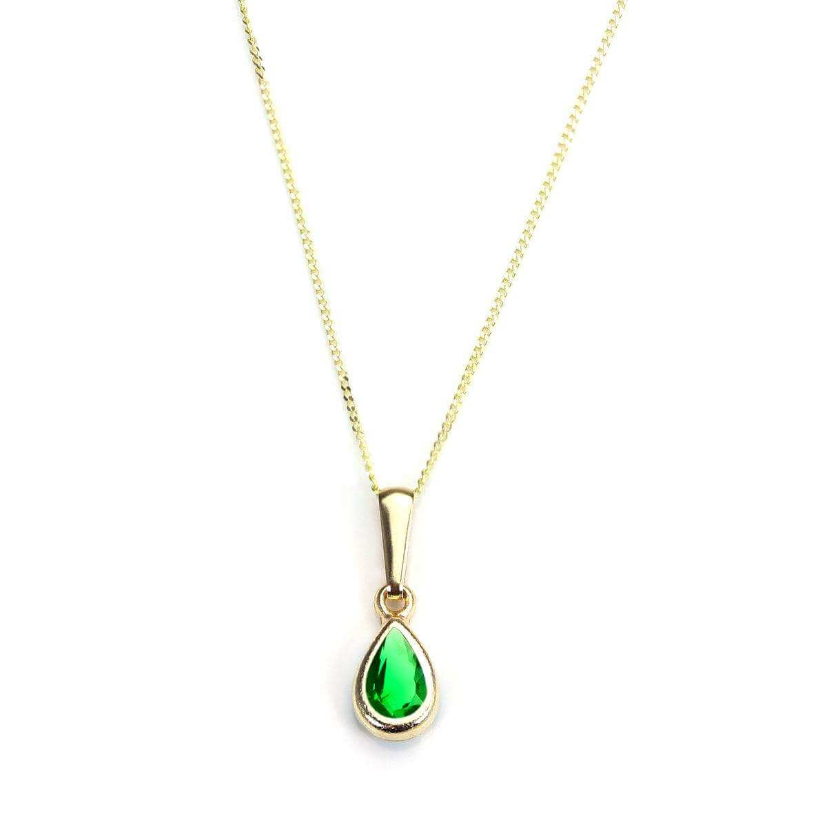 9ct Gold Emerald Crystal May Birthstone Pendant