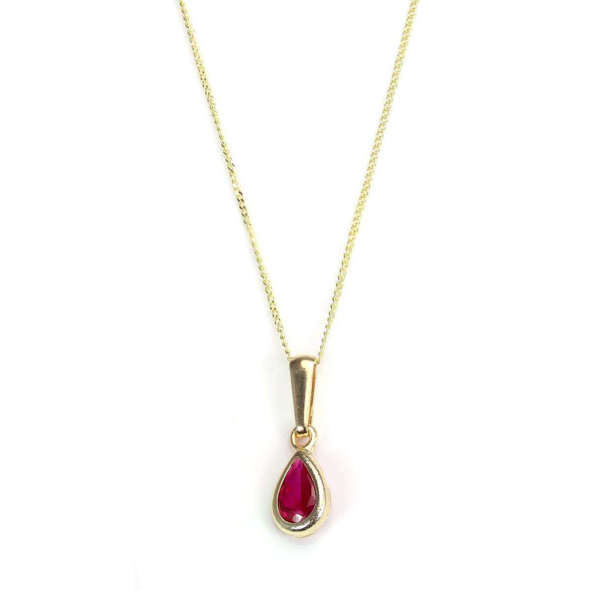 9ct Gold Ruby July Crystal Birthstone Pendant