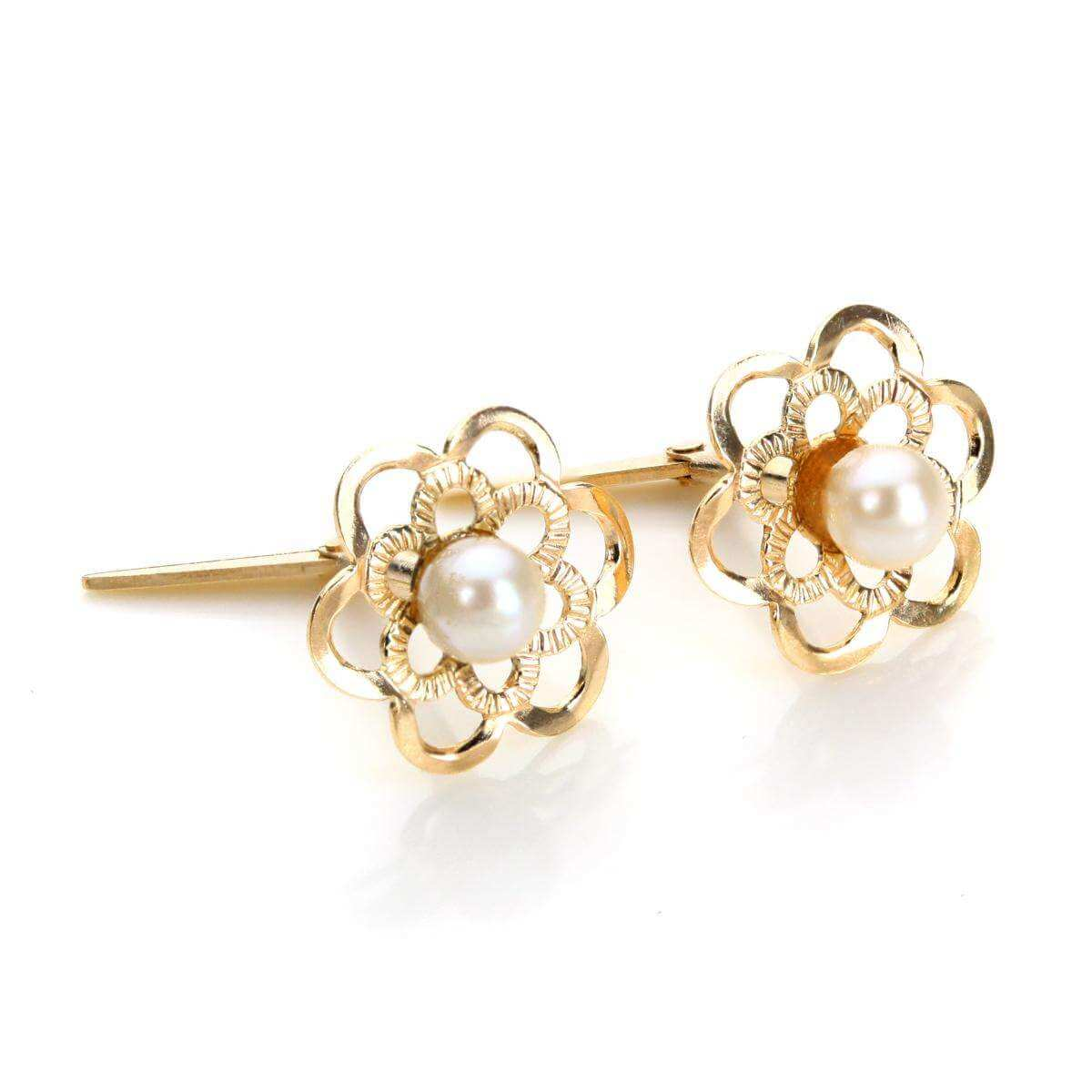 Andralok 9ct Yellow Gold Pearl Flower 3mm Stud Earrings
