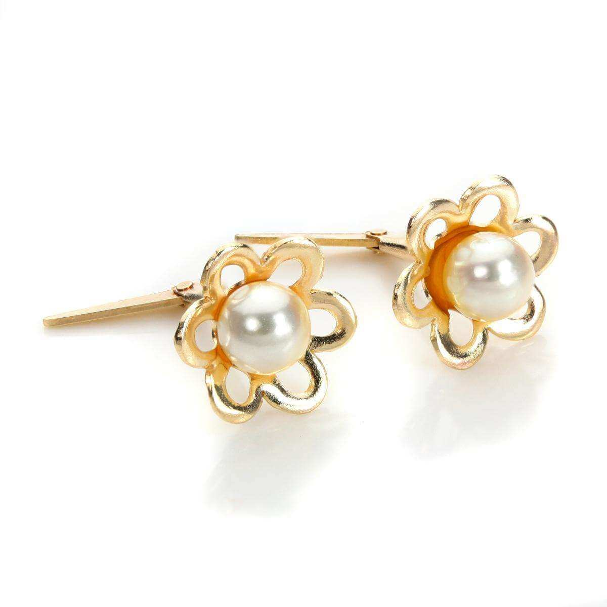 Andralok 9ct Yellow Gold Pearl Flower 4mm Stud Earrings