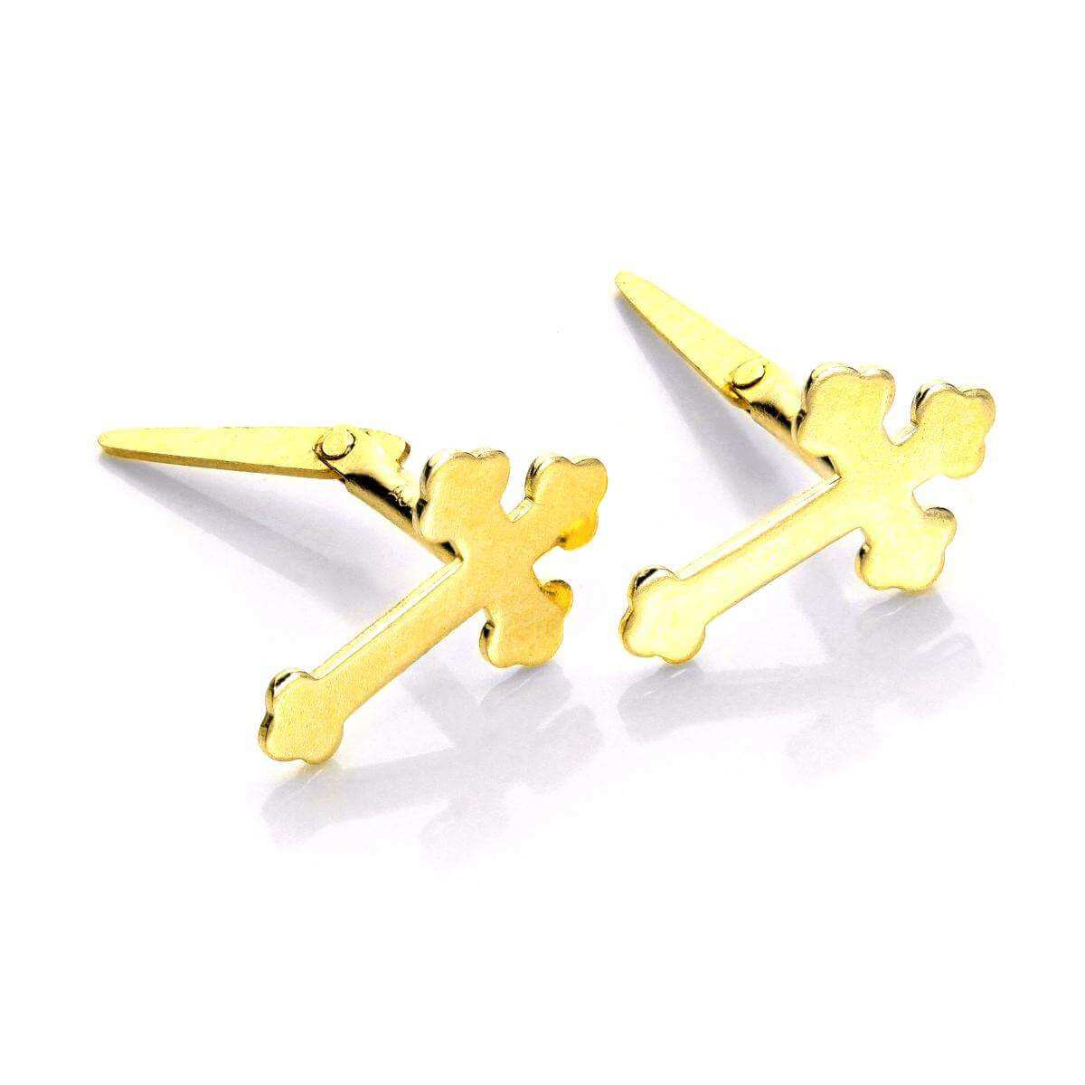 Andralok 9ct Yellow Gold Small Club Cross Stud Earrings