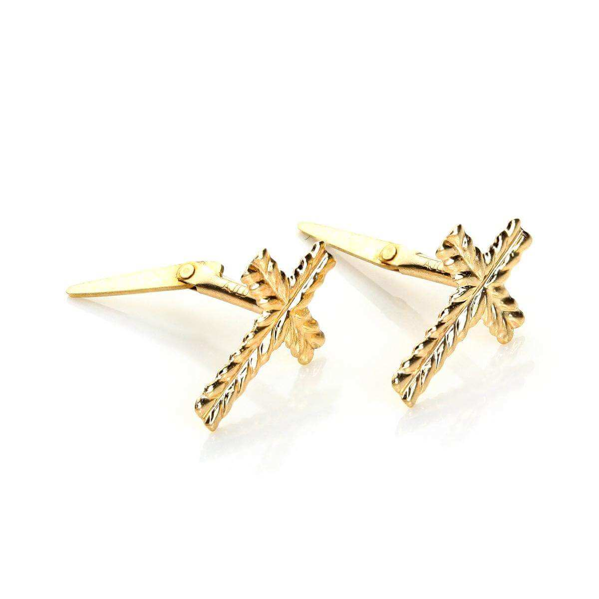Andralok 9ct Yellow Gold Small Patterned Cross Stud Earrings