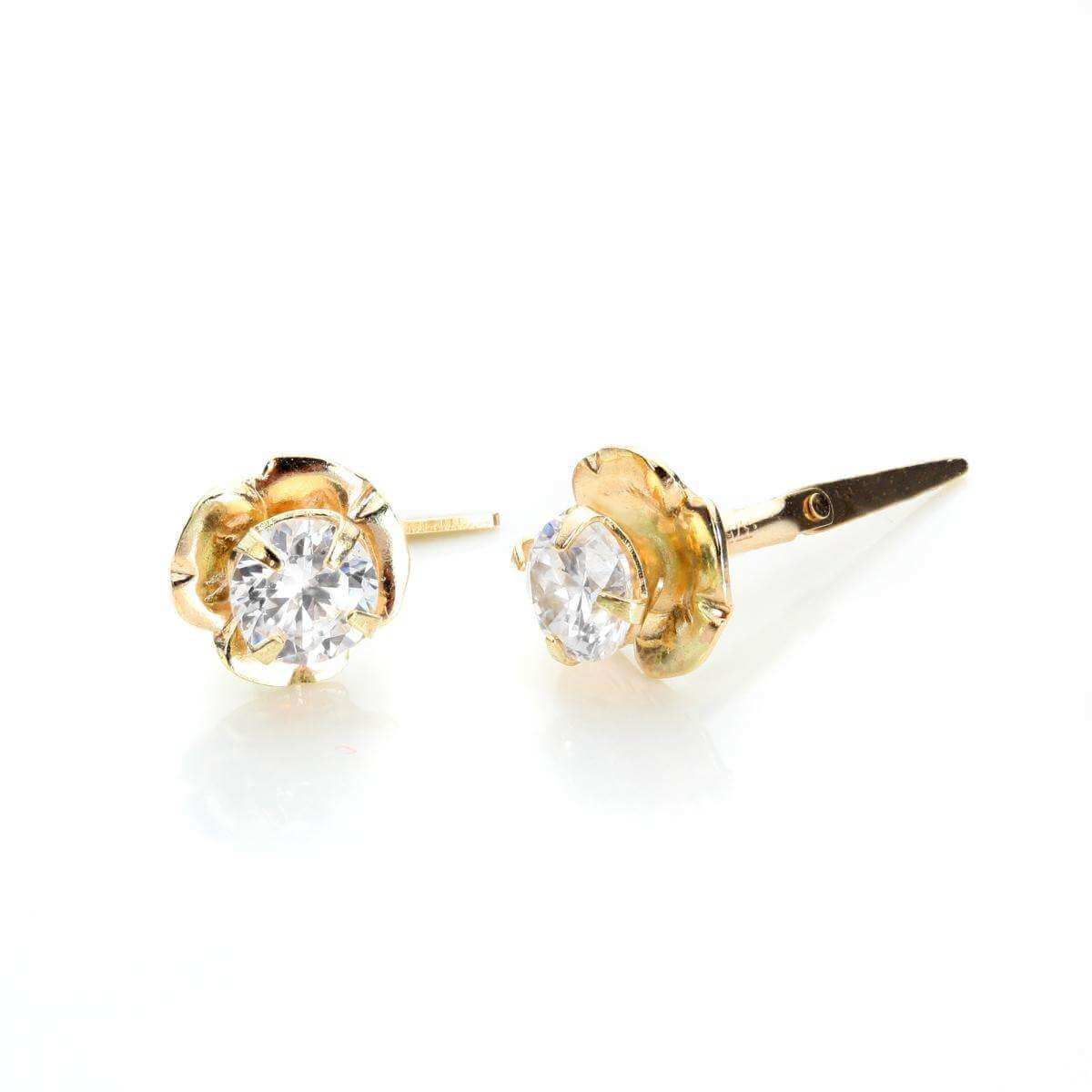 Andralok 9ct Yellow Gold Crystal 3.5mm Flower Stud Earrings