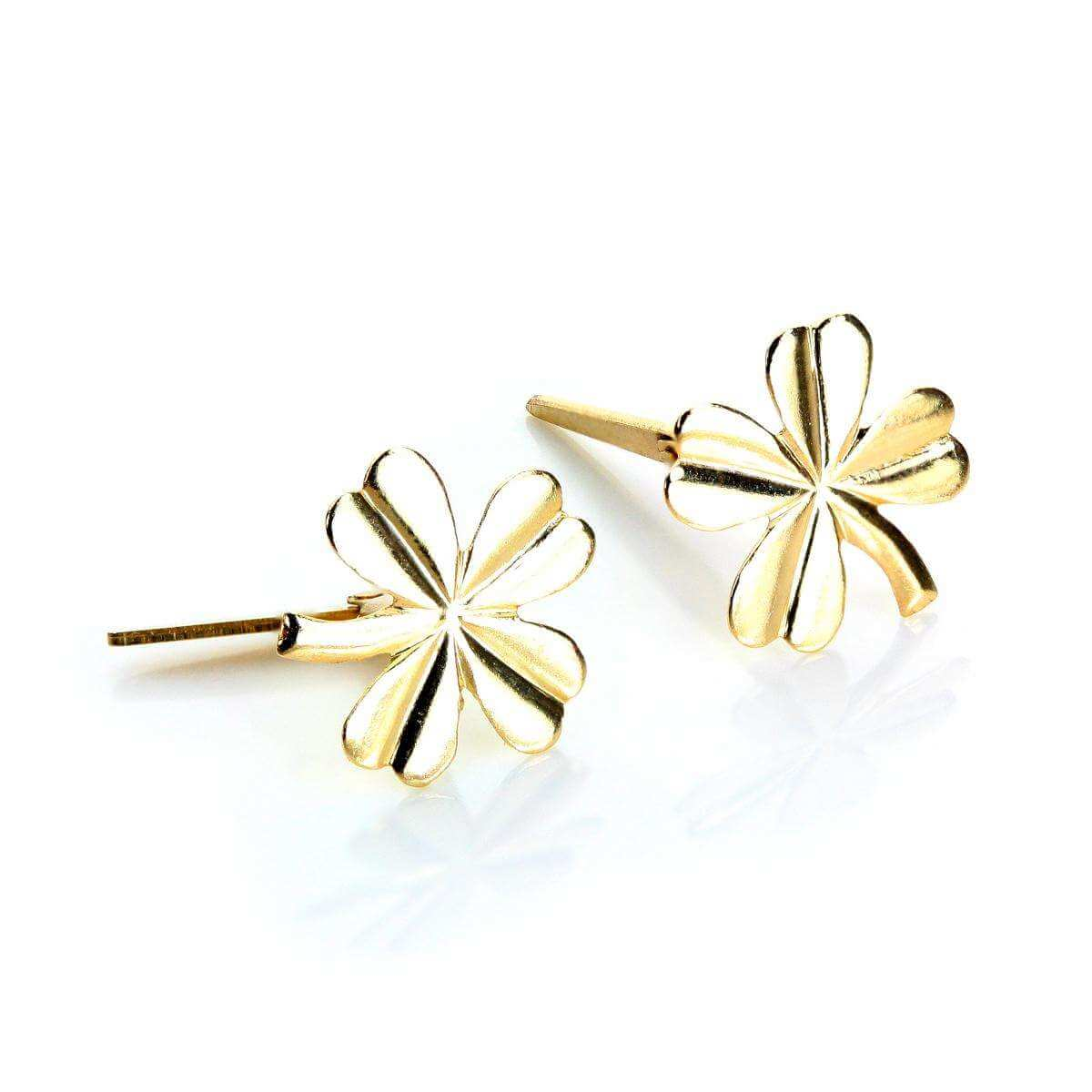 Andralok 9ct Yellow Gold 4 Leafed Flower Stud Earrings