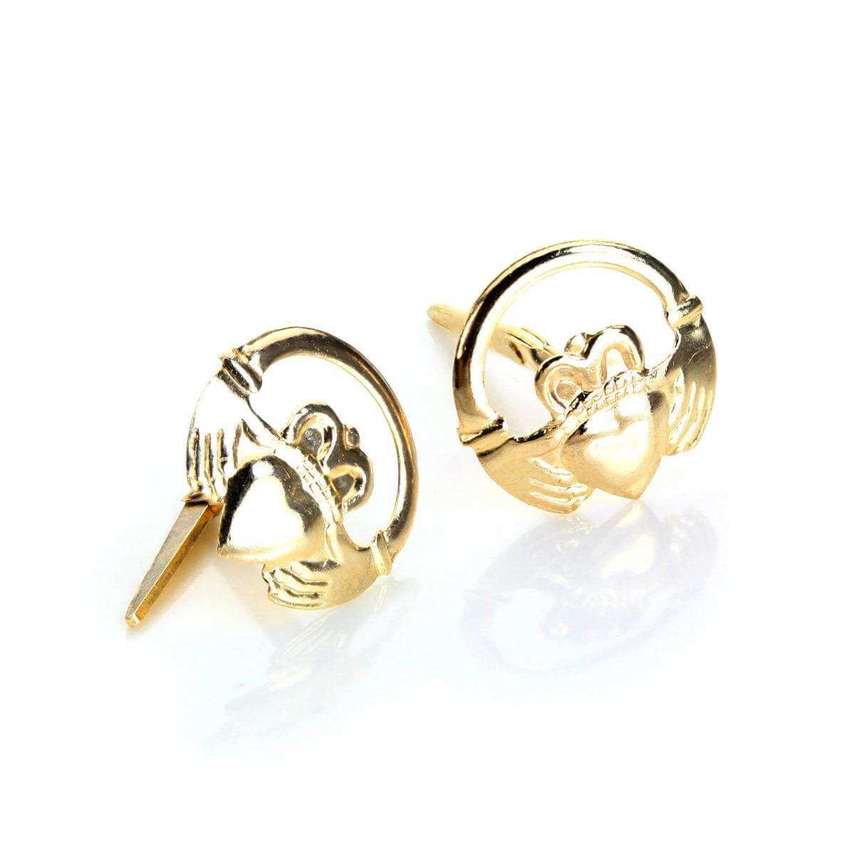 Andralok 9ct Yellow Gold Claddagh Stud Earrings