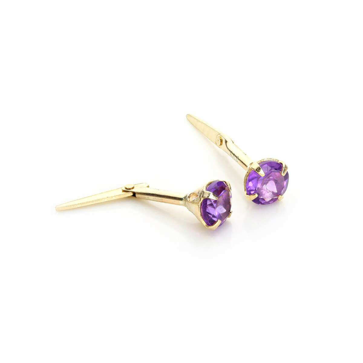 Andralok 9ct Yellow Gold Amethyst 3.5mm Round Stud Earrings