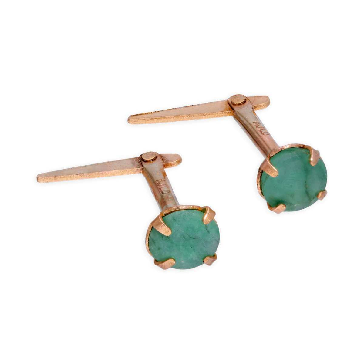 Andralok 9ct Yellow Gold Emerald 3.5mm Round Stud Earrings