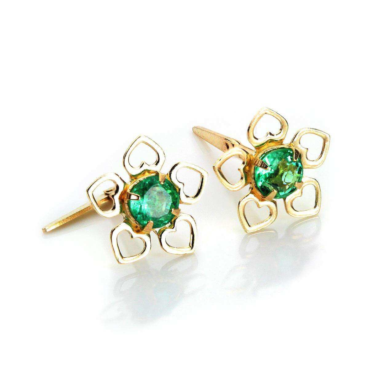 Andralok 9ct Yellow Gold Emerald 3.5mm Stud Earrings