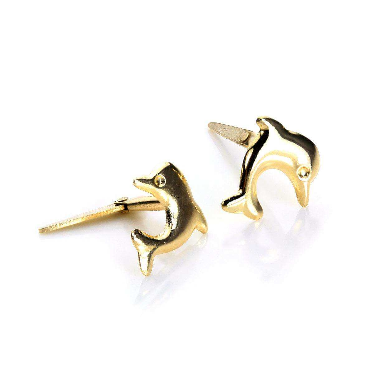 Andralok 9ct Yellow Gold Cute Dolphin Stud Earrings