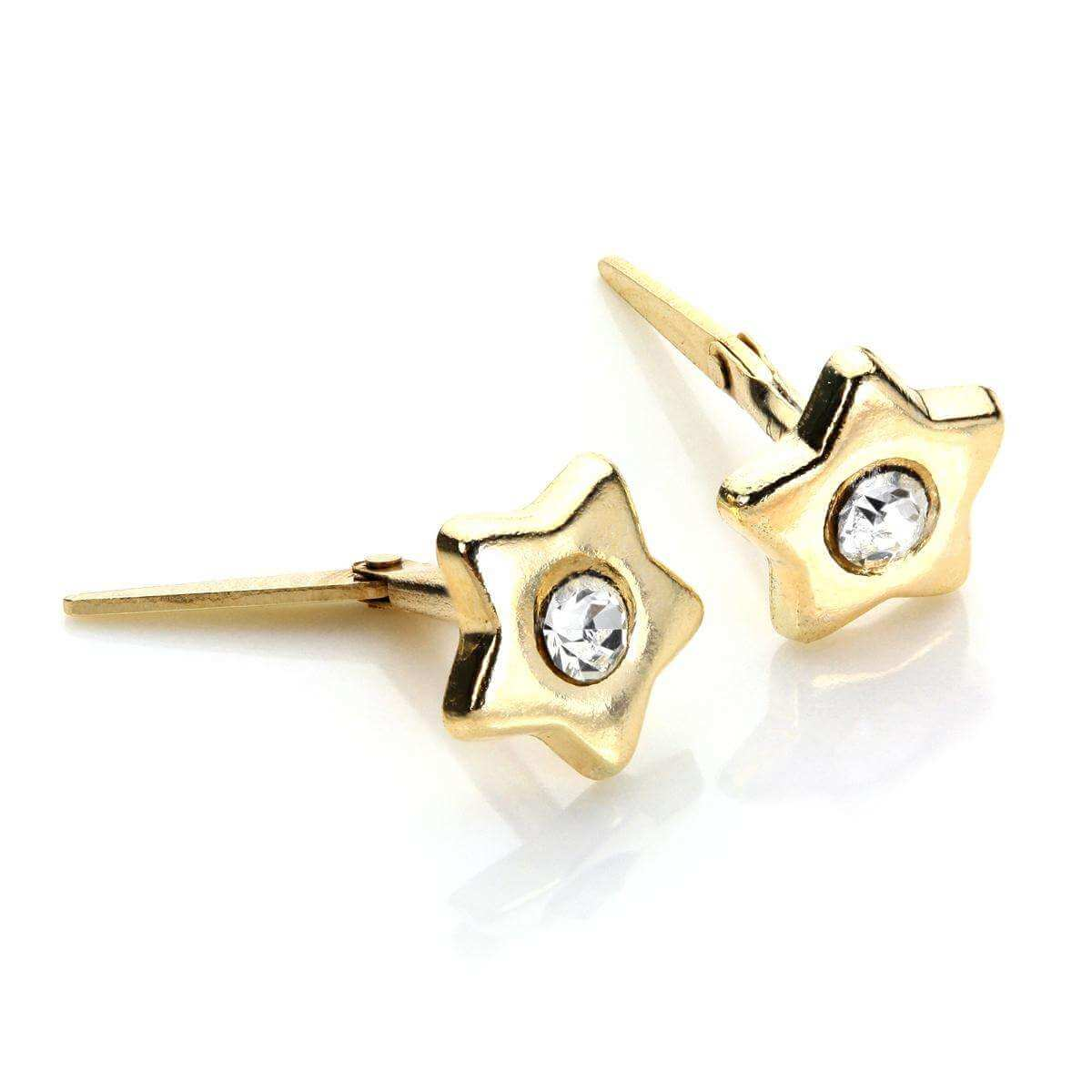 Andralok 9ct Yellow Gold Clear Star Stud Earrings