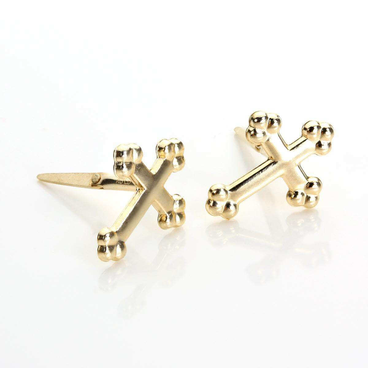 Andralok 9ct Yellow Gold Cross Stud Earrings