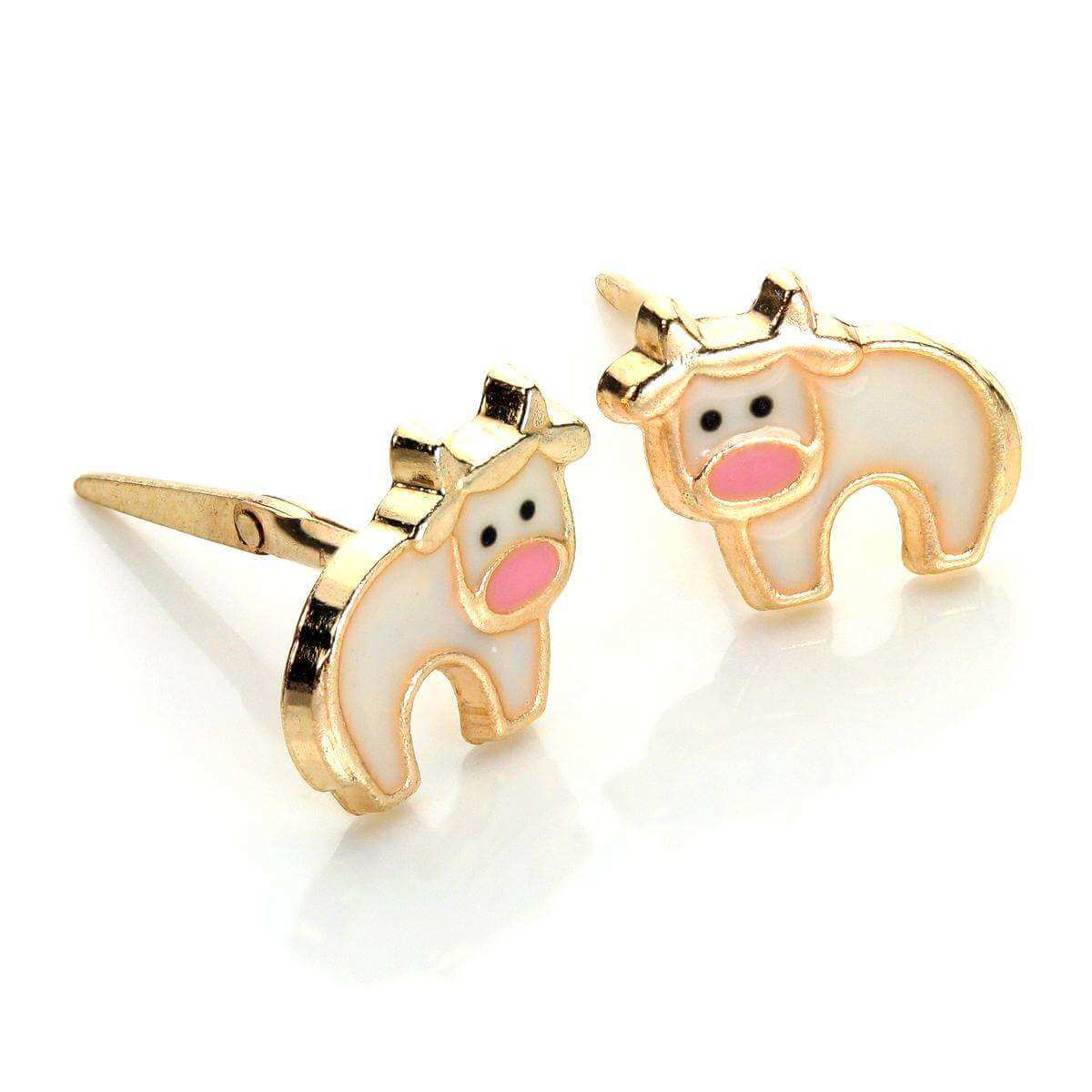 Andralok 9ct Yellow Gold Enamelled Cow Stud Earrings
