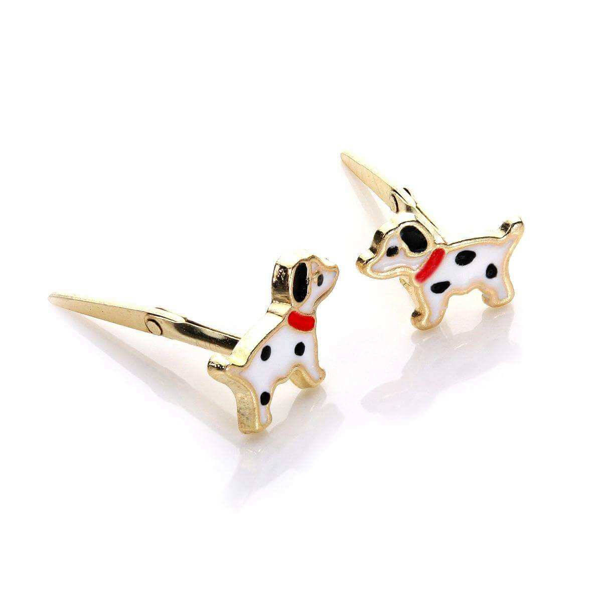 Andralok 9ct Yellow Gold Enamelled Dalmatian Stud Earrings