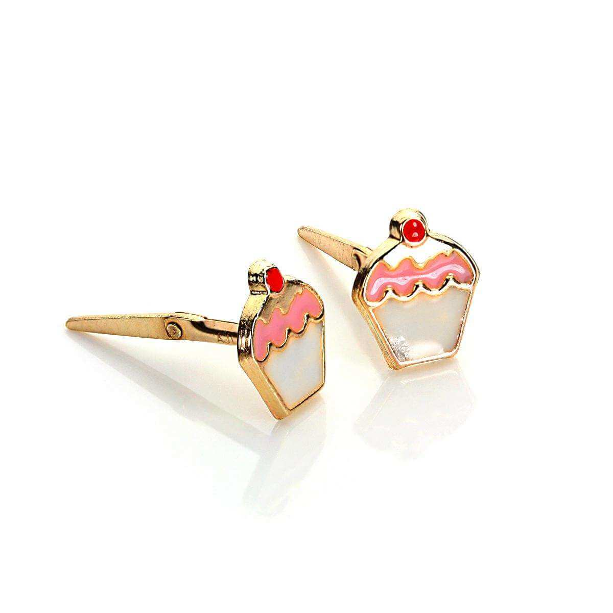 Andralok 9ct Yellow Gold Enamelled Cherry Cup Cake Stud Earrings