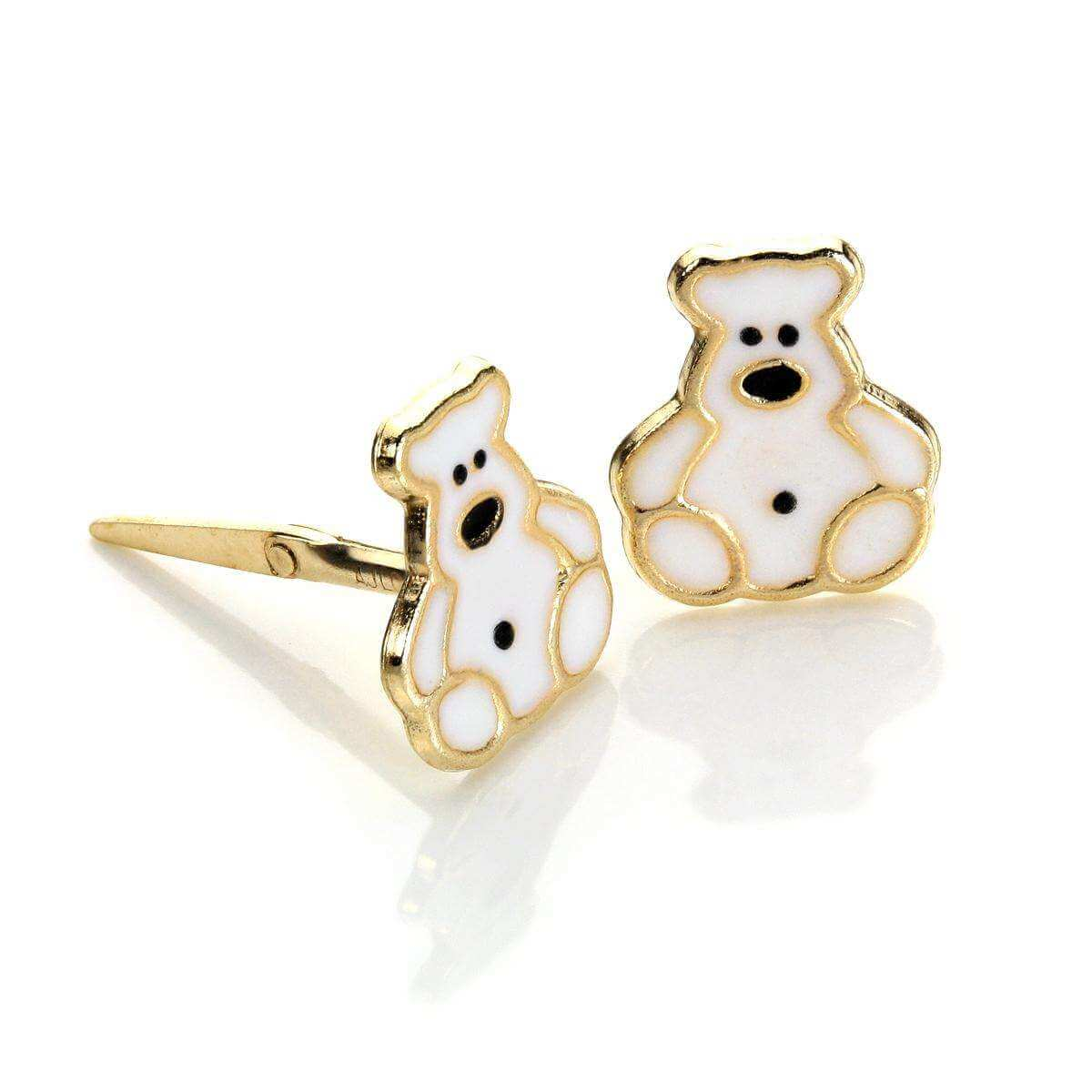 Andralok 9ct Yellow Gold Enamelled Polar Bear Stud Earrings