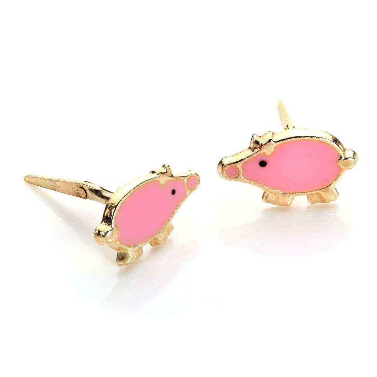 Andralok 9ct Yellow Gold Enamelled Pig Stud Earrings