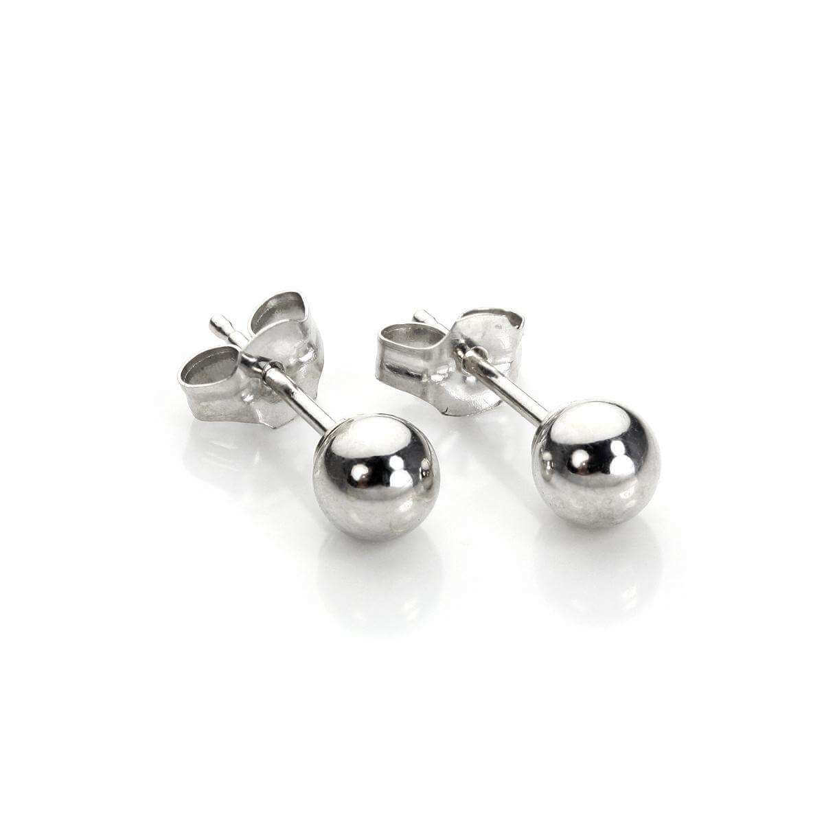9ct White Gold 4mm Stud Earrings