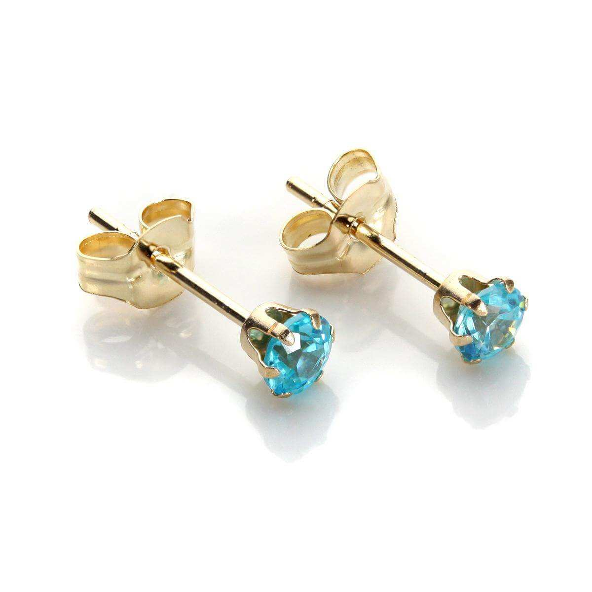 9ct Yellow Gold Aquamarine Crystal 3mm Round Stud Earrings