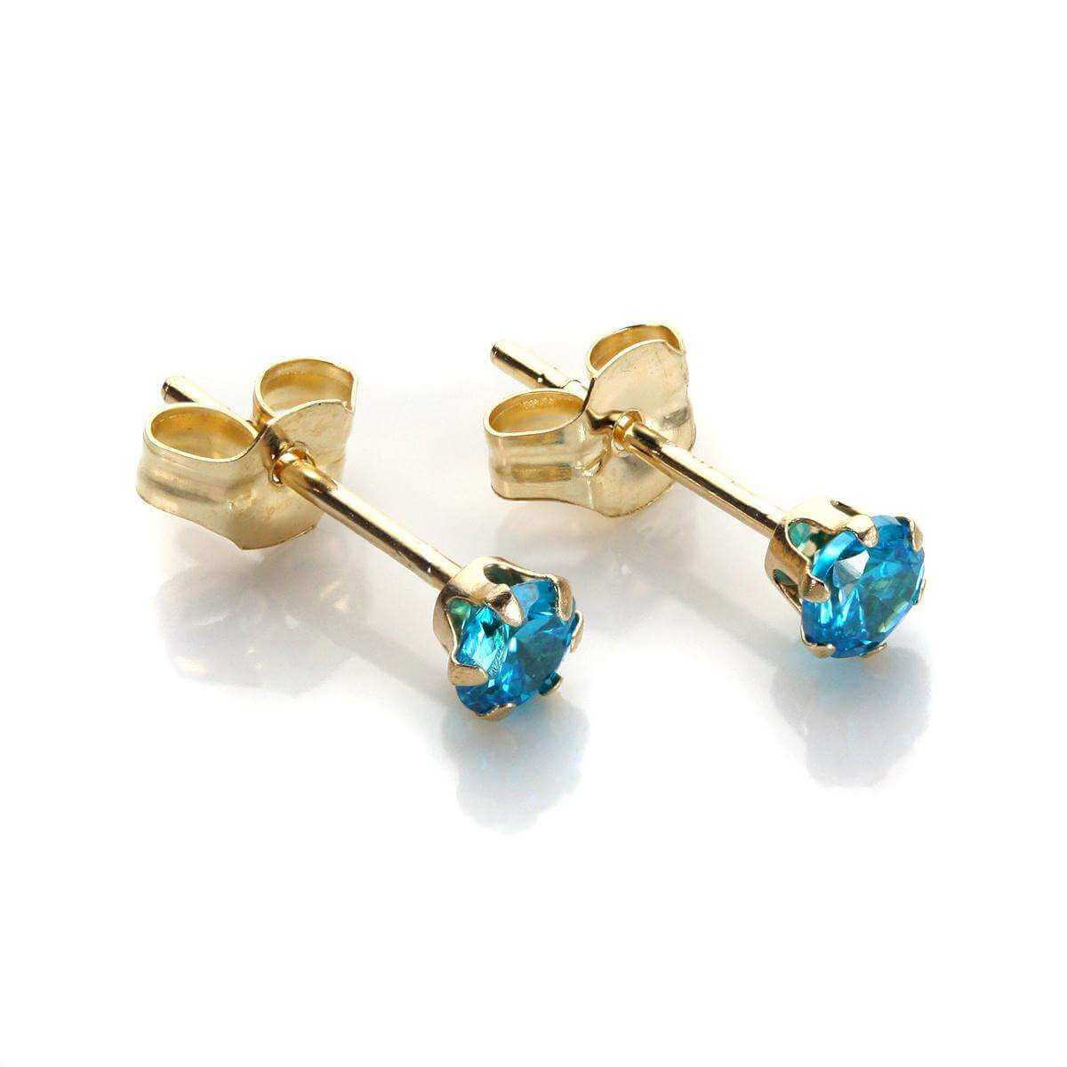 9ct Yellow Gold Dark Blue Crystal 3mm Round Stud Earrings
