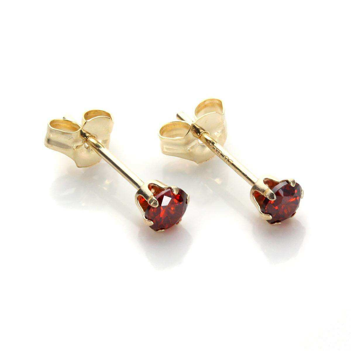 9ct Yellow Gold Garnet Crystal 3mm Round Stud Earrings